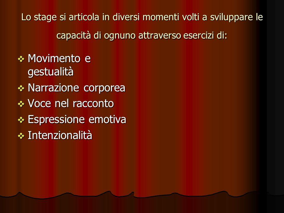 Lo stage si articola in diversi momenti volti a sviluppare le capacità di ognuno attraverso esercizi di: Movimento e gestualità Movimento e gestualità