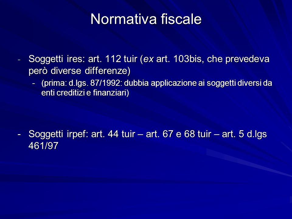 Normativa fiscale - Soggetti ires: art. 112 tuir (ex art. 103bis, che prevedeva però diverse differenze) -(prima: d.lgs. 87/1992: dubbia applicazione
