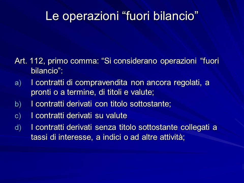 Le operazioni fuori bilancio Art. 112, primo comma: Si considerano operazioni fuori bilancio: a) I contratti di compravendita non ancora regolati, a p