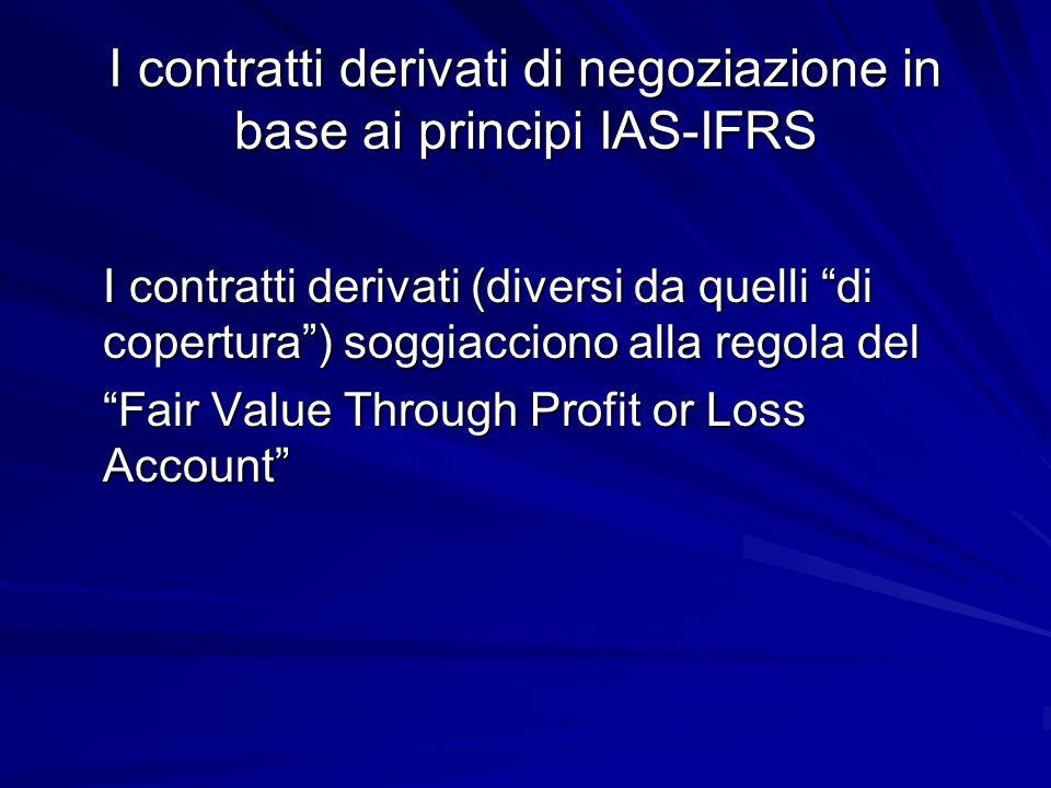 Definizione di derivato (IAS 32-39) I derivati sono definiti e regolati dal principio IAS 39, in base al quale sono considerati come tali gli strumenti - il cui valore cambia in relazione al cambiamento del tasso dinteresse, del prezzo di uno strumento finanziario, di una merce, del tasso di cambio in valuta estera, dellindice dei prezzi, del merito di credito (rating) o altra variabile prestabilita - che non richiedono un investimento netto iniziale o comunque ne richiedono uno minore rispetto ad altre tipologie di contratti che hanno una simile reazione a cambiamenti delle condizioni di mercato (in questo si manifesta una delle differenze rispetto agli strumenti che prevedono un impiego di capitale e quindi producono redditi di capitale ai sensi dellart.