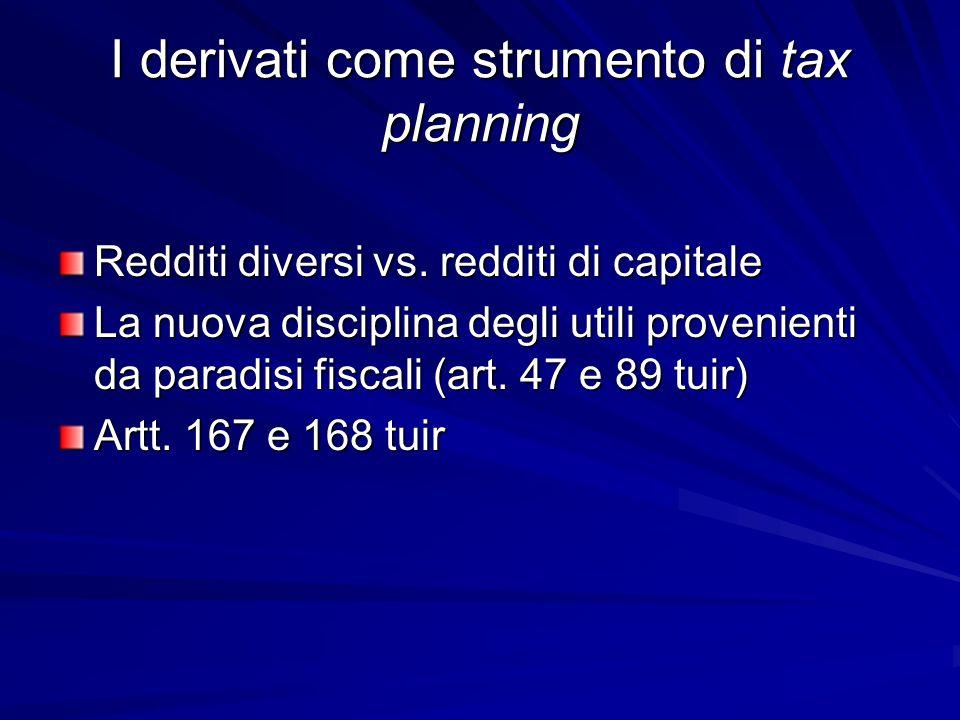 I derivati come strumento di tax planning Redditi diversi vs. redditi di capitale La nuova disciplina degli utili provenienti da paradisi fiscali (art
