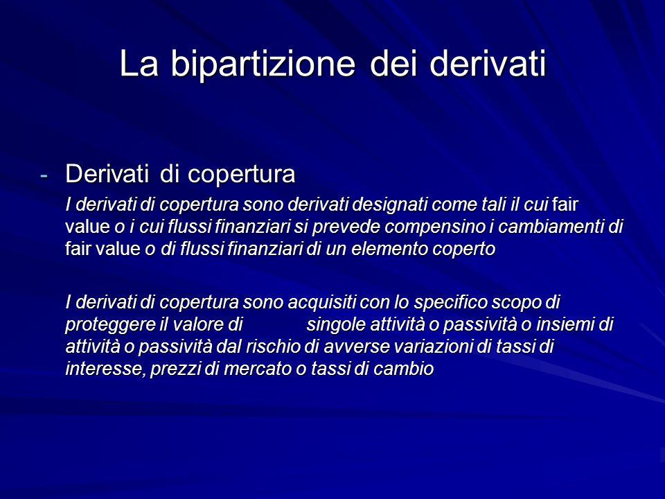 La bipartizione dei derivati - Derivati di copertura I derivati di copertura sono derivati designati come tali il cui fair value o i cui flussi finanz