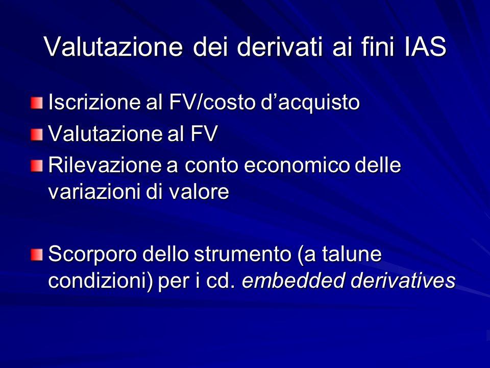 Valutazione dei derivati ai fini IAS Iscrizione al FV/costo dacquisto Valutazione al FV Rilevazione a conto economico delle variazioni di valore Scorp