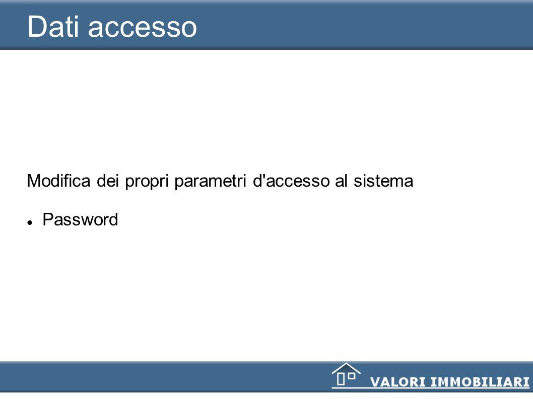 Dati accesso Modifica dei propri parametri d'accesso al sistema Password