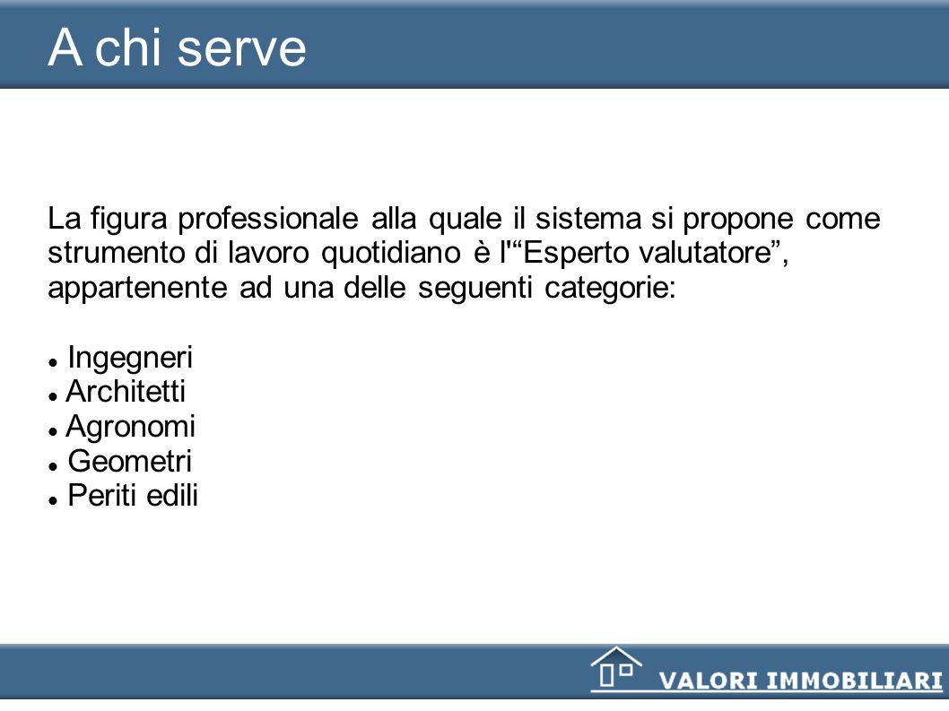 Il sistema Account Dati personali Dati accesso Stime Inserisci / Modifica / Stampa (con valutazione di coerenza) Cerca stime (solo fra quelle inserite dall utente) Cerca valori di riferimento (calcolo basato sull intera base dati)