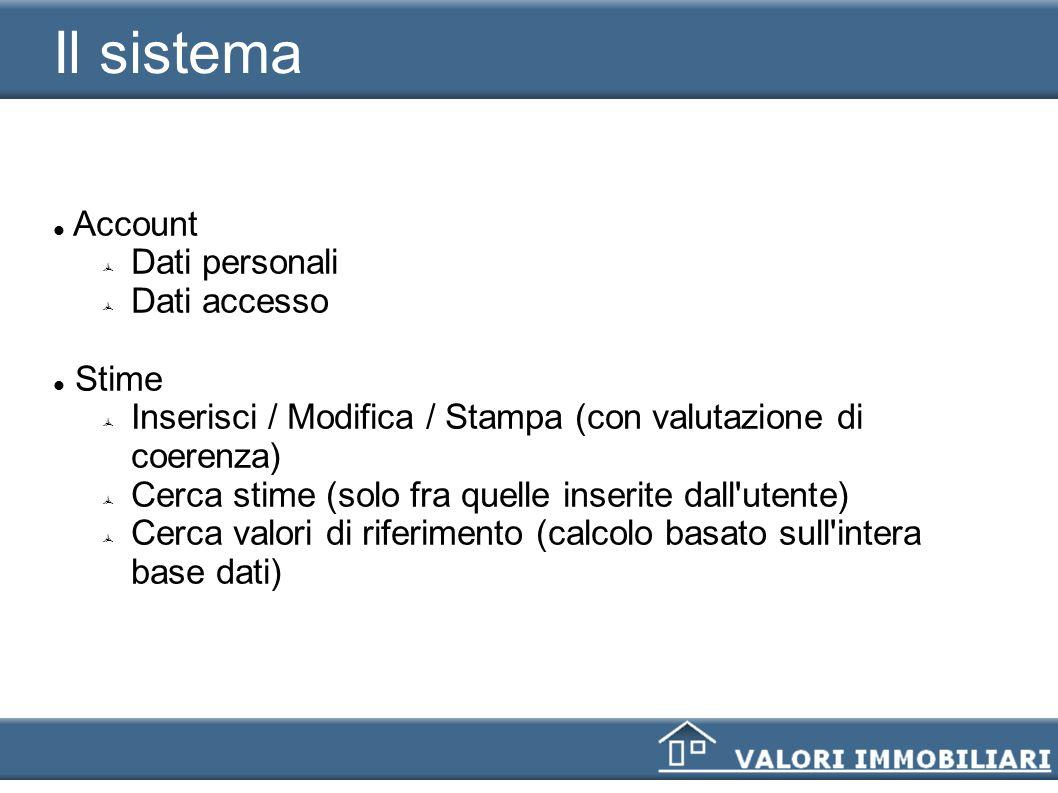 Il sistema Account Dati personali Dati accesso Stime Inserisci / Modifica / Stampa (con valutazione di coerenza) Cerca stime (solo fra quelle inserite