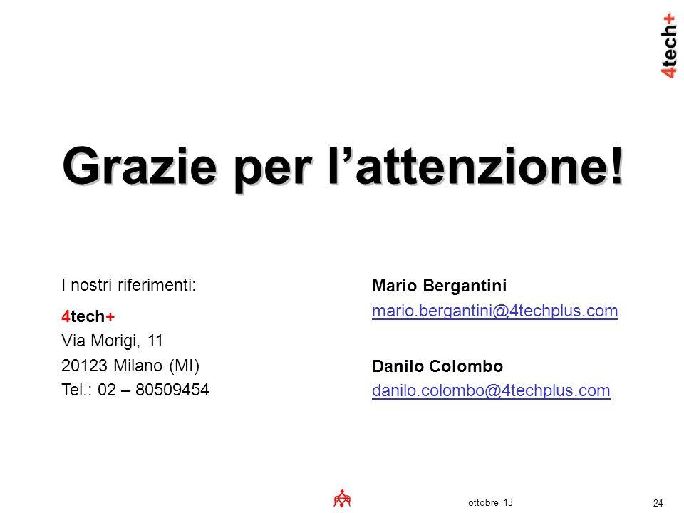 ottobre 13 24 Grazie per lattenzione! I nostri riferimenti: 4tech+ Via Morigi, 11 20123 Milano (MI) Tel.: 02 – 80509454 Mario Bergantini mario.bergant
