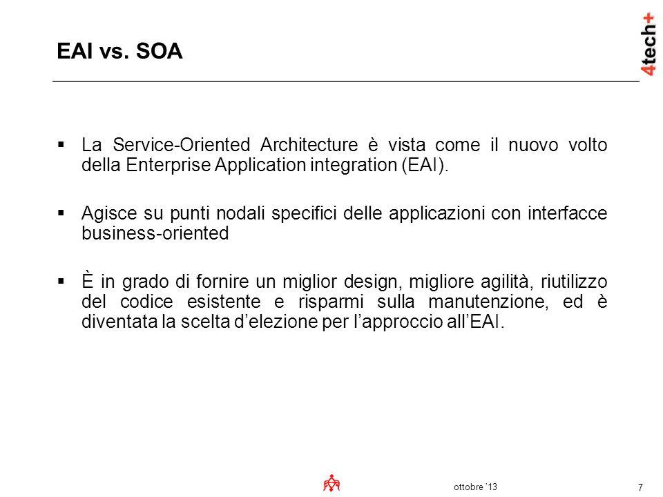 ottobre 13 7 EAI vs. SOA La Service-Oriented Architecture è vista come il nuovo volto della Enterprise Application integration (EAI). Agisce su punti