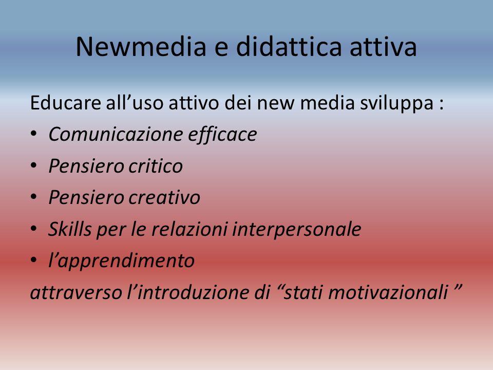 Newmedia e didattica attiva Educare alluso attivo dei new media sviluppa : Comunicazione efficace Pensiero critico Pensiero creativo Skills per le rel