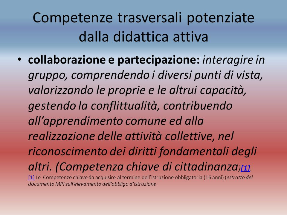 Competenze trasversali potenziate dalla didattica attiva collaborazione e partecipazione: interagire in gruppo, comprendendo i diversi punti di vista,