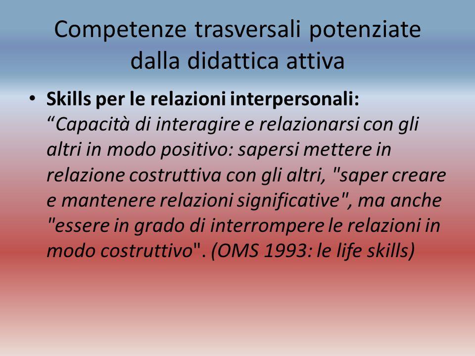 Competenze trasversali potenziate dalla didattica attiva Skills per le relazioni interpersonali:Capacità di interagire e relazionarsi con gli altri in