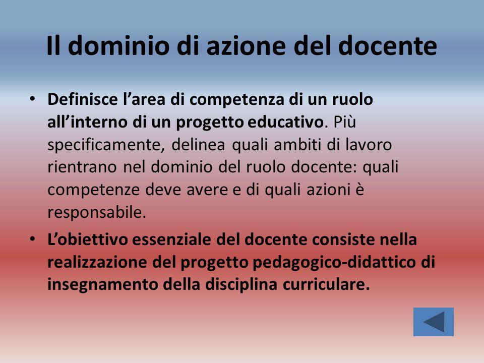 Il dominio di azione del docente Definisce larea di competenza di un ruolo allinterno di un progetto educativo. Più specificamente, delinea quali ambi