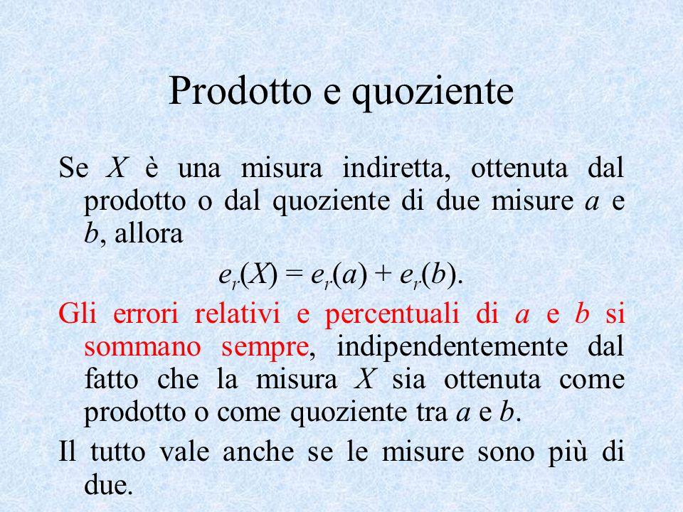 Prodotto e quoziente Se X è una misura indiretta, ottenuta dal prodotto o dal quoziente di due misure a e b, allora e r (X) = e r (a) + e r (b). Gli e