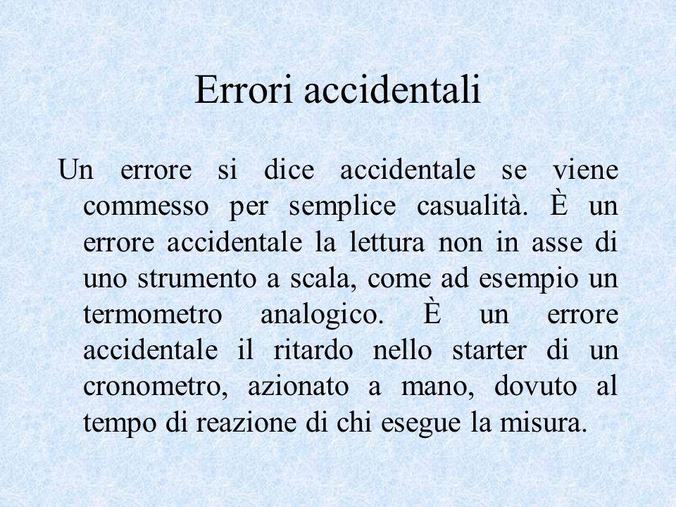 Errori accidentali Un errore si dice accidentale se viene commesso per semplice casualità. È un errore accidentale la lettura non in asse di uno strum