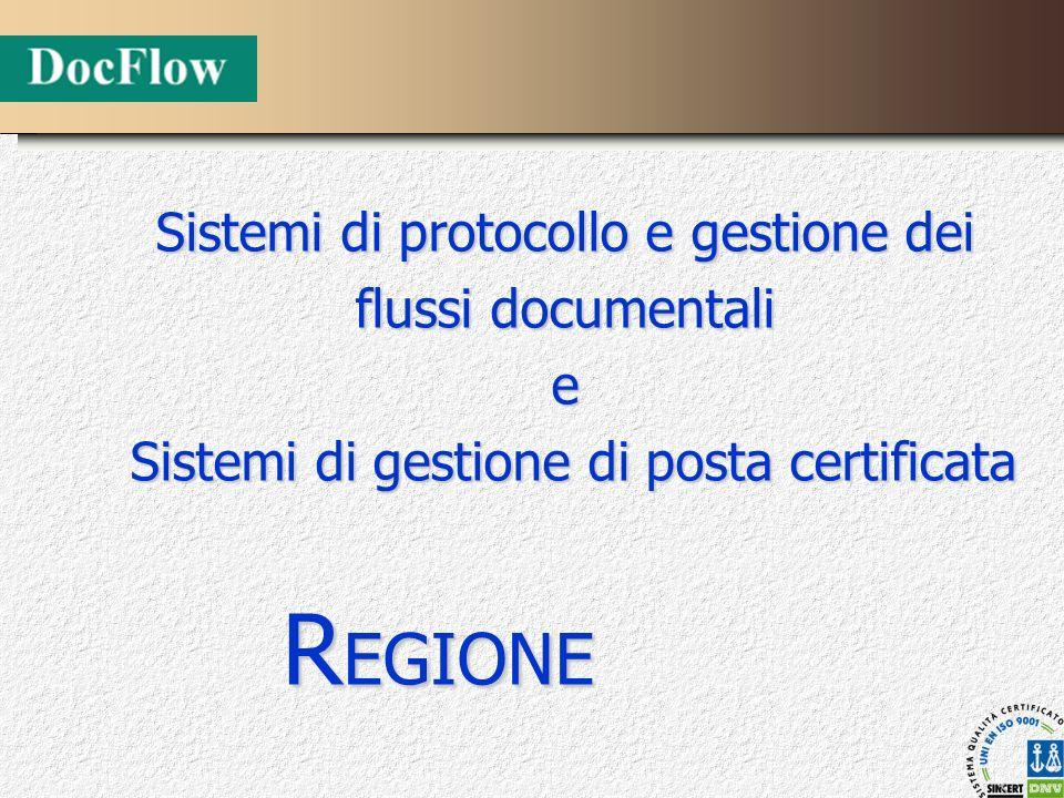 Sistemi di protocollo e gestione dei flussi documentali e Sistemi di gestione di posta certificata Sistemi di gestione di posta certificata R EGIONE