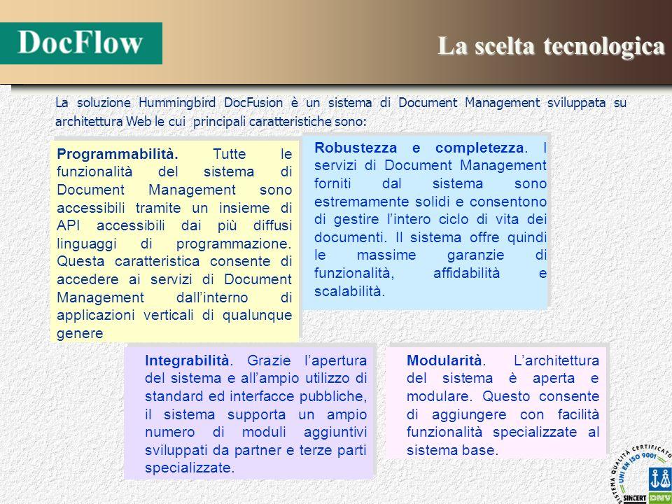 La scelta tecnologica Robustezza e completezza. I servizi di Document Management forniti dal sistema sono estremamente solidi e consentono di gestire