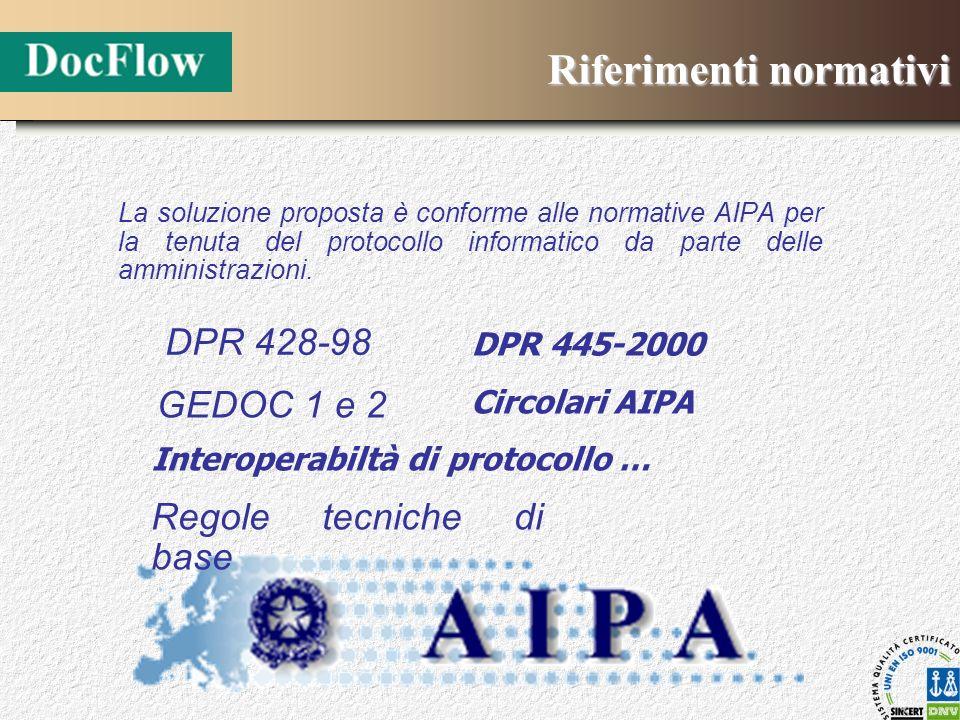 Riferimenti normativi La soluzione proposta è conforme alle normative AIPA per la tenuta del protocollo informatico da parte delle amministrazioni. DP