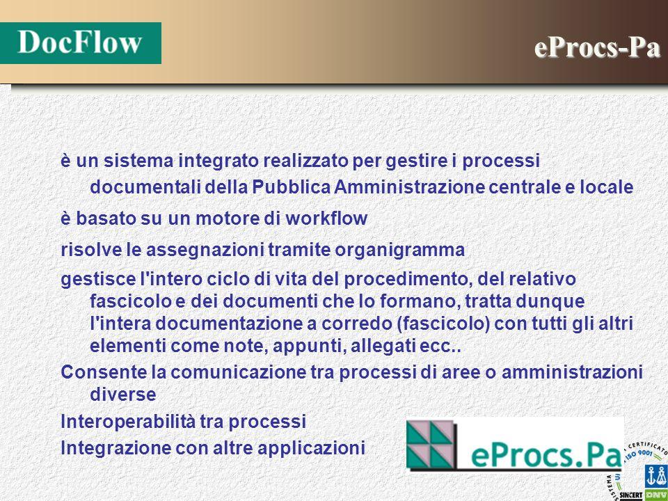 eProcs-Pa è un sistema integrato realizzato per gestire i processi documentali della Pubblica Amministrazione centrale e locale è basato su un motore