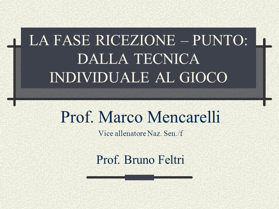 LA FASE RICEZIONE – PUNTO: DALLA TECNICA INDIVIDUALE AL GIOCO Prof. Marco Mencarelli Vice allenatore Naz. Sen./f Prof. Bruno Feltri