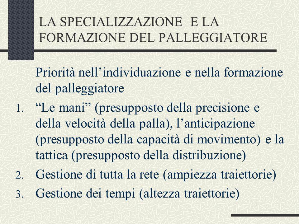LA SPECIALIZZAZIONE E LA FORMAZIONE DEL PALLEGGIATORE Priorità nellindividuazione e nella formazione del palleggiatore 1. Le mani (presupposto della p