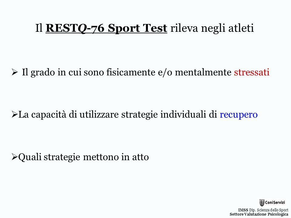 IMSS Dip. Scienza dello Sport Settore Valutazione Psicologica Quali strategie mettono in atto Il RESTQ-76 Sport Test rileva negli atleti Il grado in c