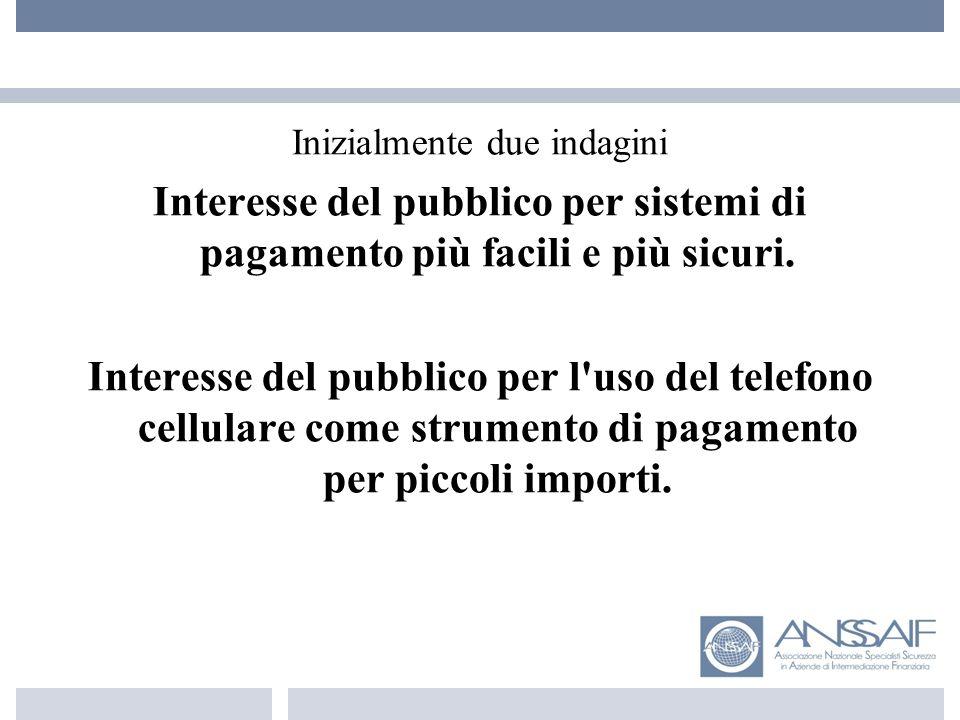 Inizialmente due indagini Interesse del pubblico per sistemi di pagamento più facili e più sicuri.