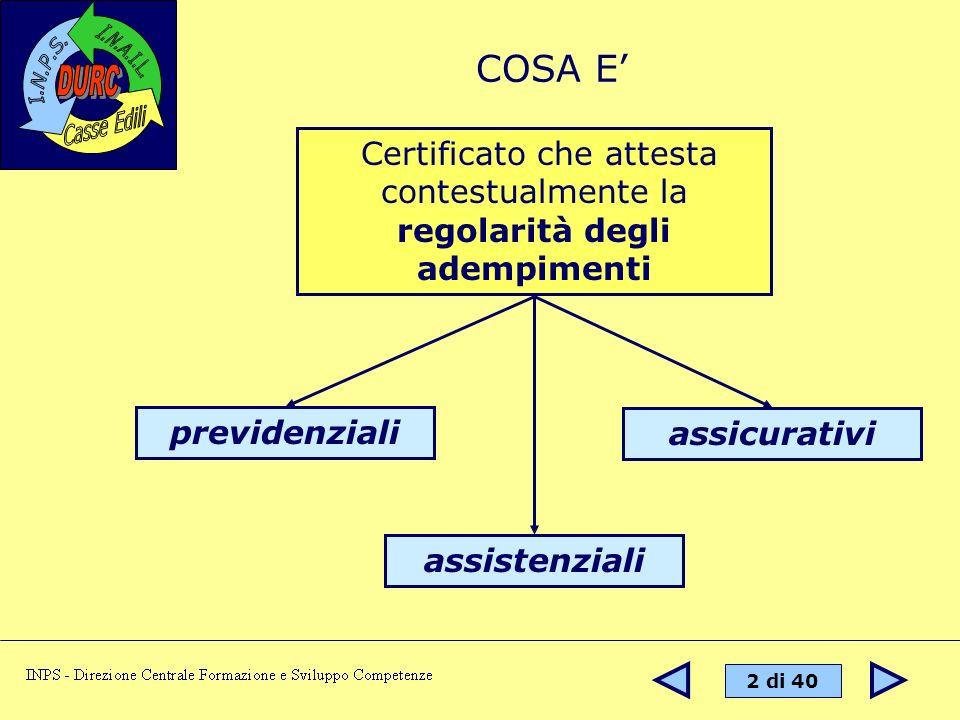 3 di 40 Legge n.266/2002 convenzioni tra INPS e INAIL al fine del rilascio di un Documento Unico di Regolarità Contributiva.