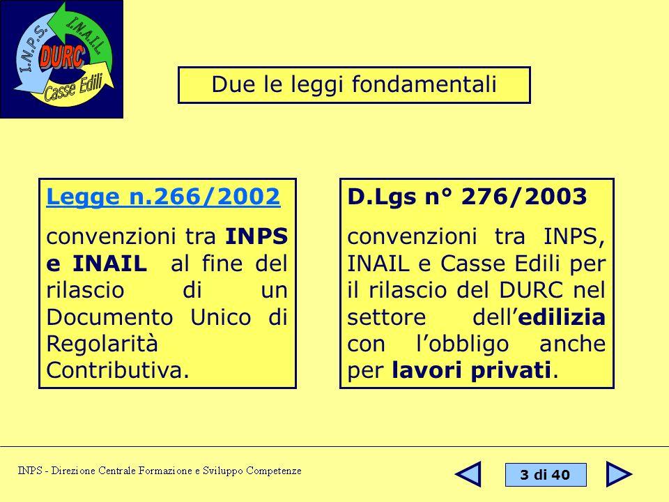 14 di 40 Il DURC nei lavori edili viene rilasciato esclusivamente dalla Cassa Edile competente per territorio.