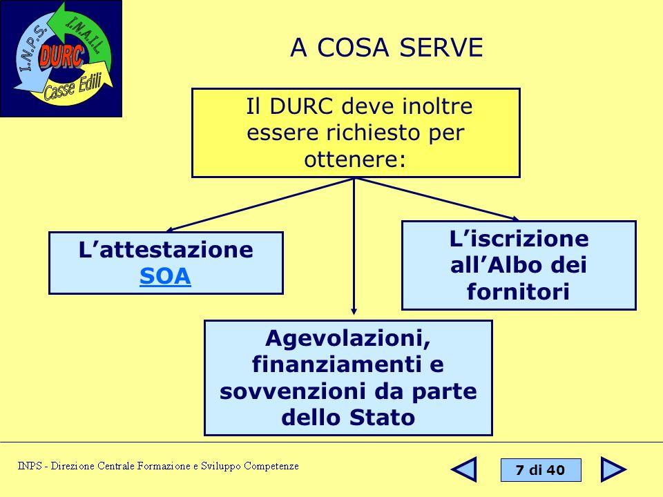 38 di 40 NORMATIVA DI RIFERIMENTO Legge n° 266/2002..disposizioni urgenti in materia di emersione del lavoro sommerso… D.