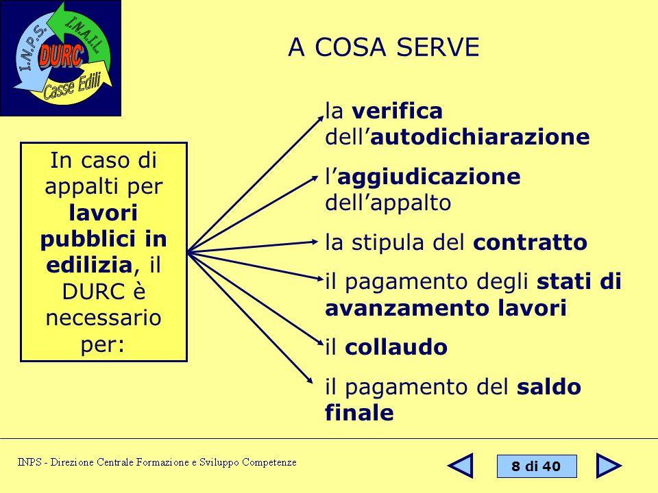 9 di 40 Il DURC può essere richiesto da: Imprese, o loro intermediari Pubbliche amministraz.ni appaltanti Enti privati a rilevanza pubblica SOA CHI LO RICHIEDE