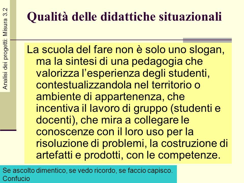 Qualità delle didattiche situazionali La scuola del fare non è solo uno slogan, ma la sintesi di una pedagogia che valorizza lesperienza degli student