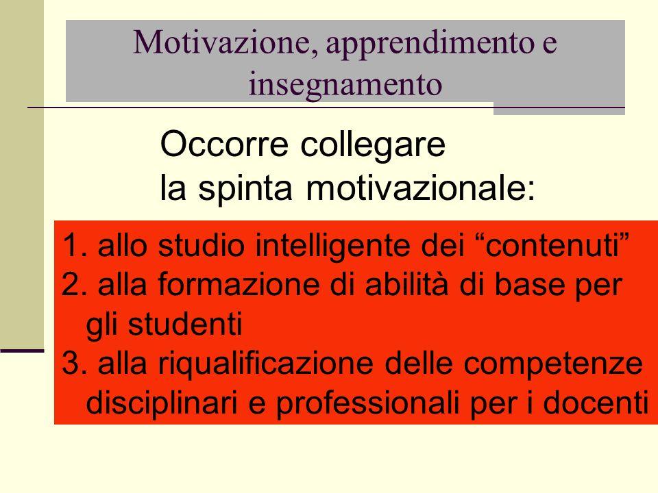Motivazione, apprendimento e insegnamento 1. allo studio intelligente dei contenuti 2. alla formazione di abilità di base per gli studenti 3. alla riq
