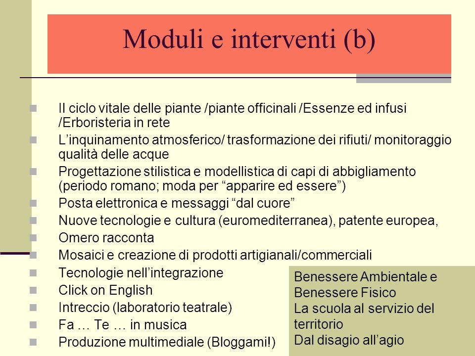 Moduli e interventi (b) Il ciclo vitale delle piante /piante officinali /Essenze ed infusi /Erboristeria in rete Linquinamento atmosferico/ trasformaz