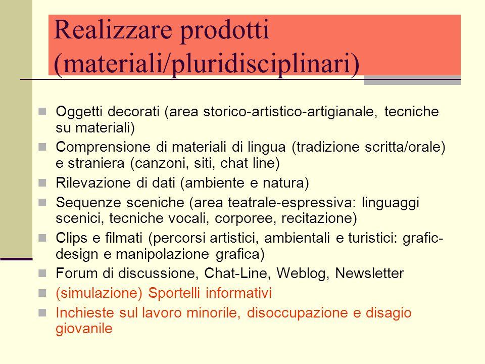 Realizzare prodotti (materiali/pluridisciplinari) Oggetti decorati (area storico-artistico-artigianale, tecniche su materiali) Comprensione di materia