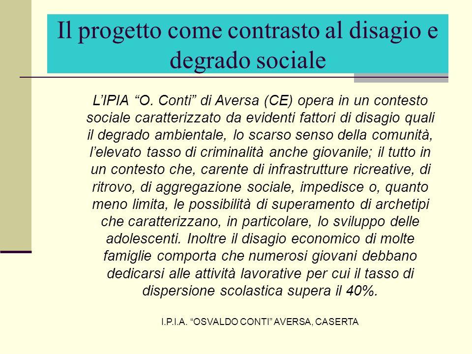 LIPIA O. Conti di Aversa (CE) opera in un contesto sociale caratterizzato da evidenti fattori di disagio quali il degrado ambientale, lo scarso senso