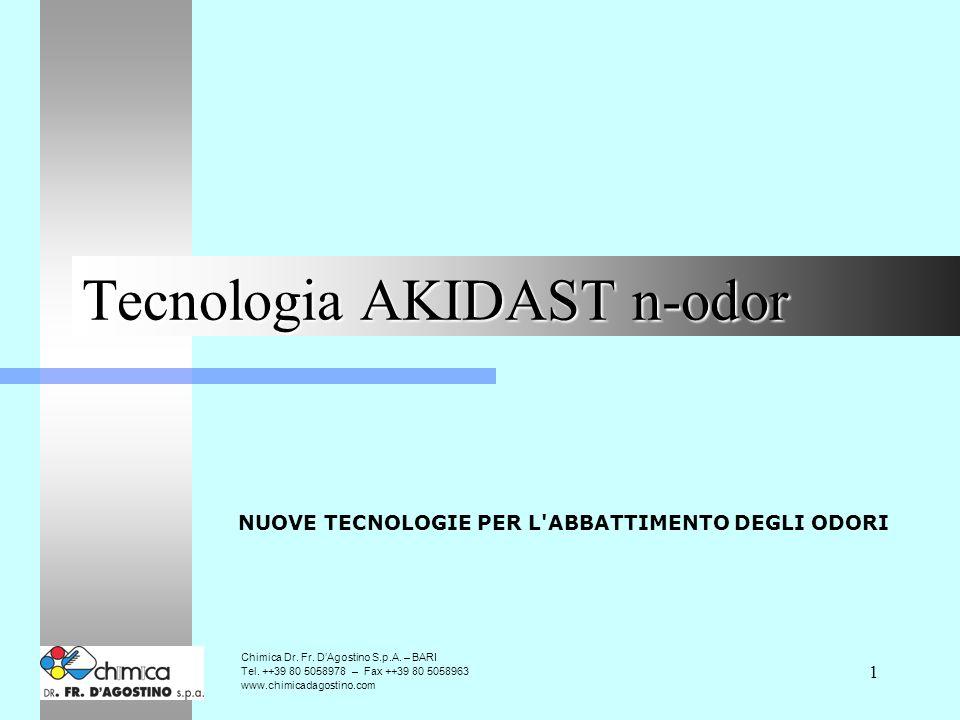 1 Tecnologia AKIDAST n-odor NUOVE TECNOLOGIE PER L ABBATTIMENTO DEGLI ODORI Chimica Dr.