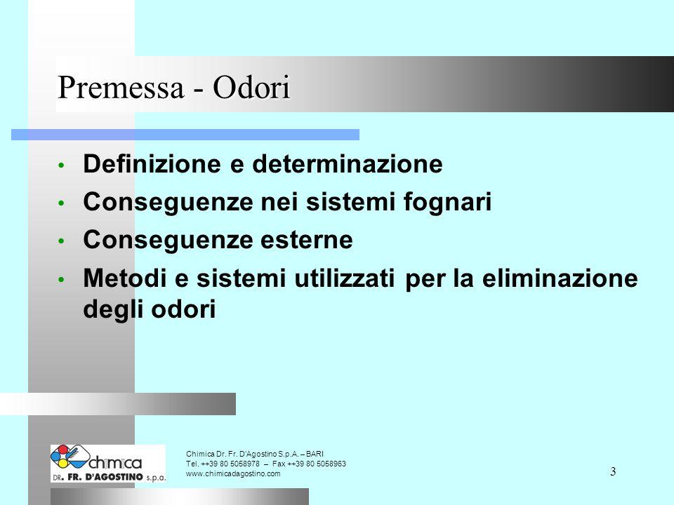 3 Premessa - Odori Definizione e determinazione Conseguenze nei sistemi fognari Conseguenze esterne Metodi e sistemi utilizzati per la eliminazione degli odori Chimica Dr.