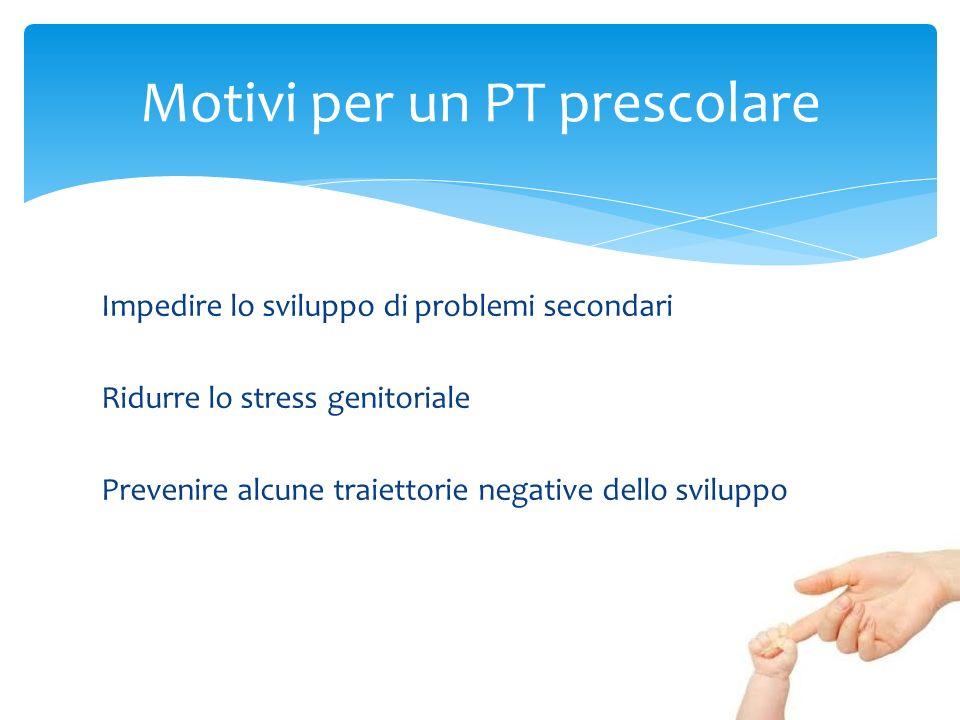 Impedire lo sviluppo di problemi secondari Ridurre lo stress genitoriale Prevenire alcune traiettorie negative dello sviluppo Motivi per un PT prescol