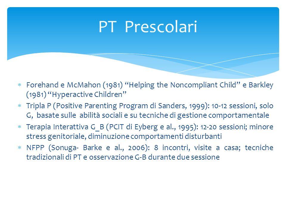 Forehand e McMahon (1981) Helping the Noncompliant Child e Barkley (1981) Hyperactive Children Tripla P (Positive Parenting Program di Sanders, 1999):