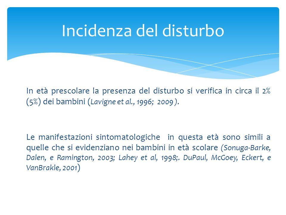 In età prescolare la presenza del disturbo si verifica in circa il 2% (5%) dei bambini ( Lavigne et al., 1996; 2009 ). Le manifestazioni sintomatologi