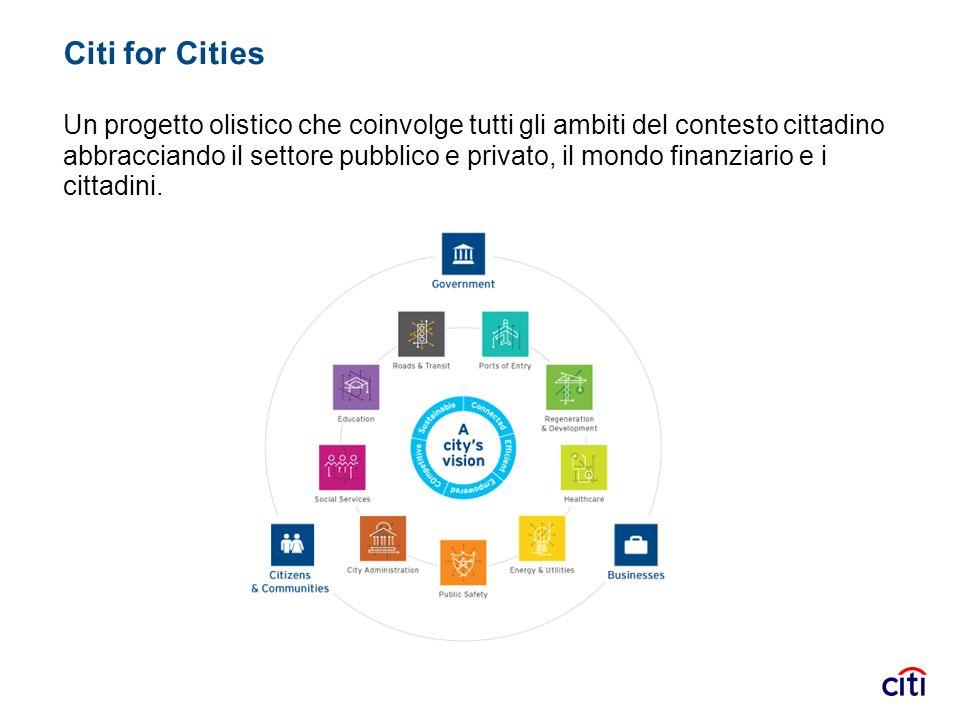 Citi for Cities Un progetto olistico che coinvolge tutti gli ambiti del contesto cittadino abbracciando il settore pubblico e privato, il mondo finanz
