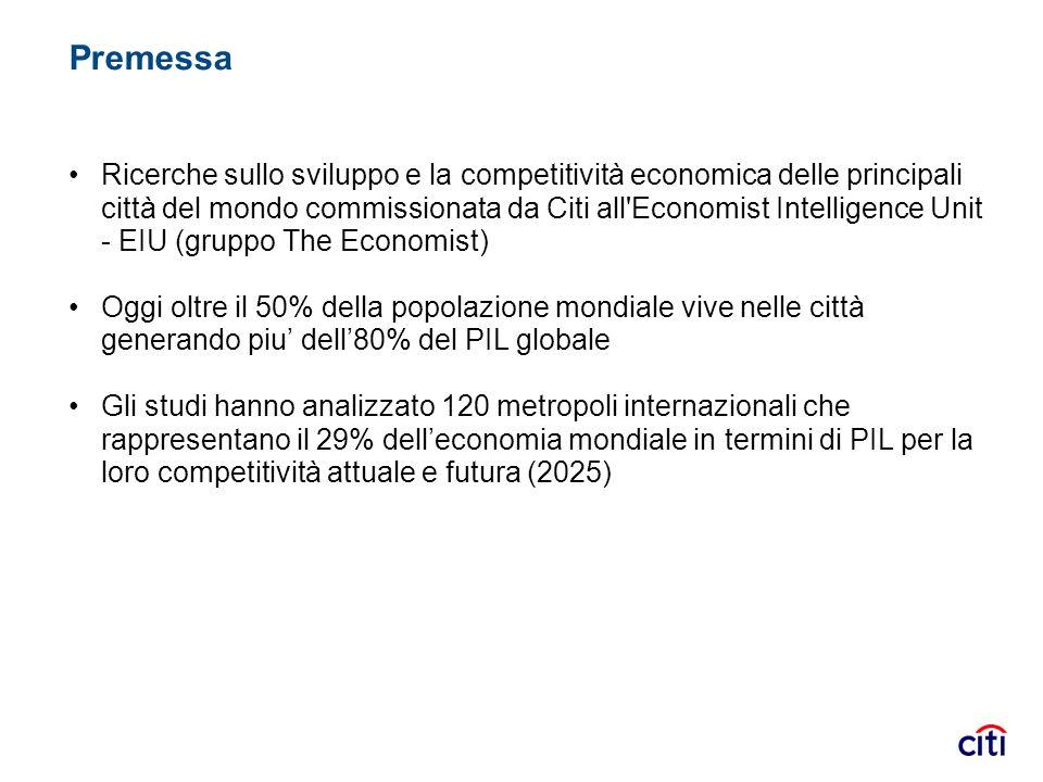 Premessa Ricerche sullo sviluppo e la competitività economica delle principali città del mondo commissionata da Citi all'Economist Intelligence Unit -