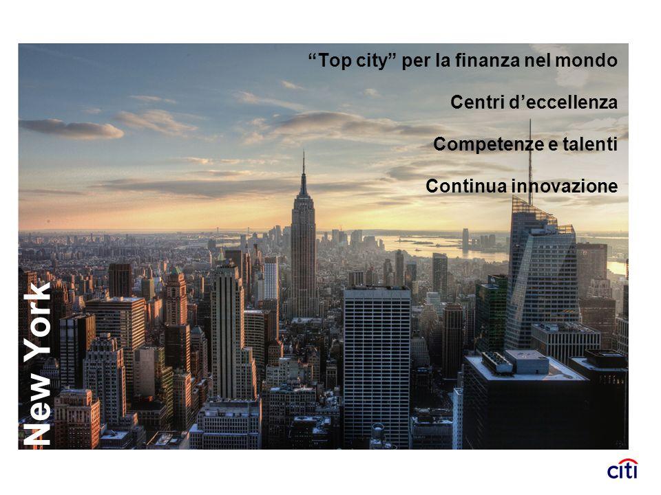 New York Top city per la finanza nel mondo Centri deccellenza Competenze e talenti Continua innovazione