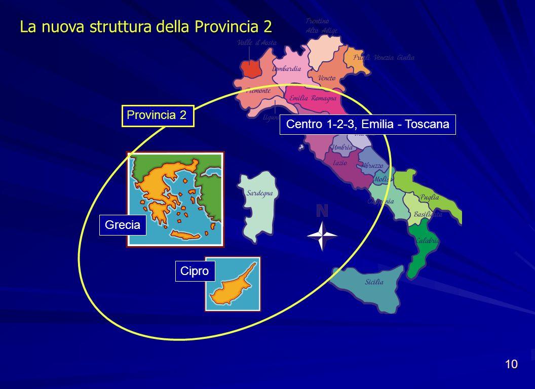 La nuova struttura della Provincia 2 Provincia 2 Grecia Cipro Centro 1-2-3, Emilia - Toscana 10