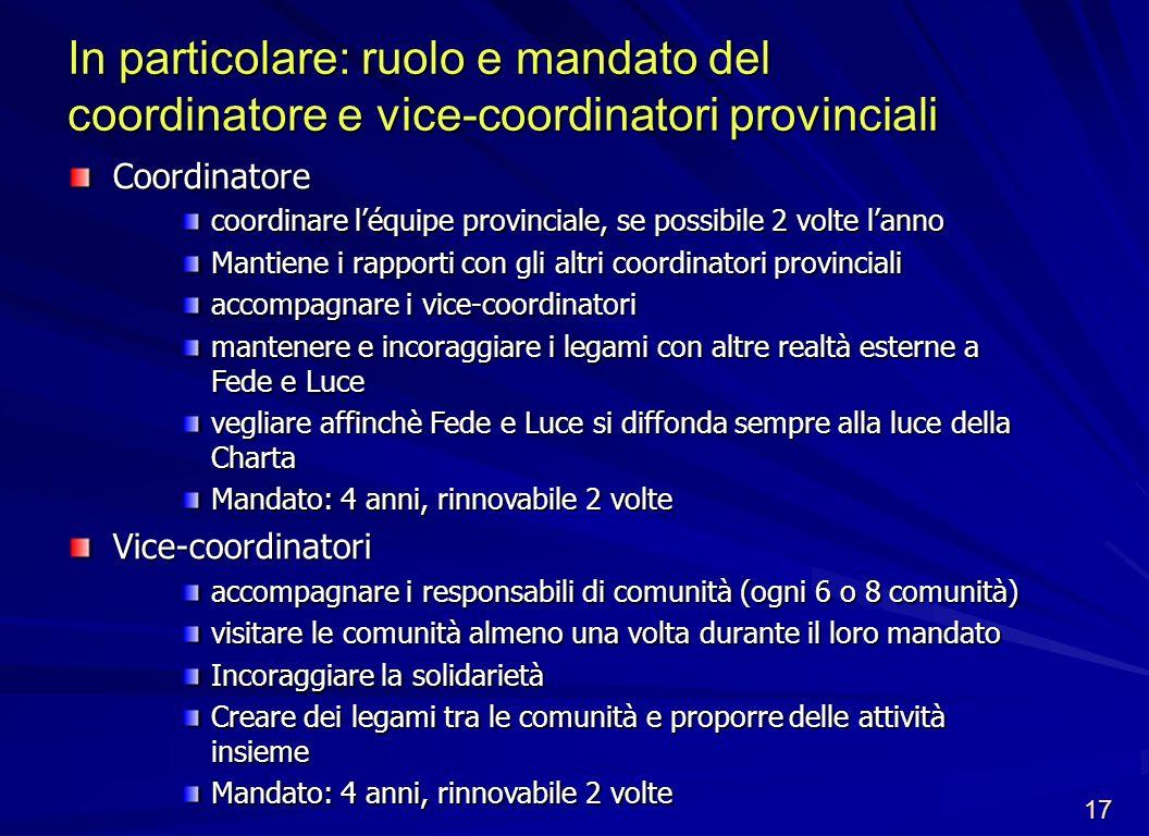 Coordinatore coordinare léquipe provinciale, se possibile 2 volte lanno Mantiene i rapporti con gli altri coordinatori provinciali accompagnare i vice