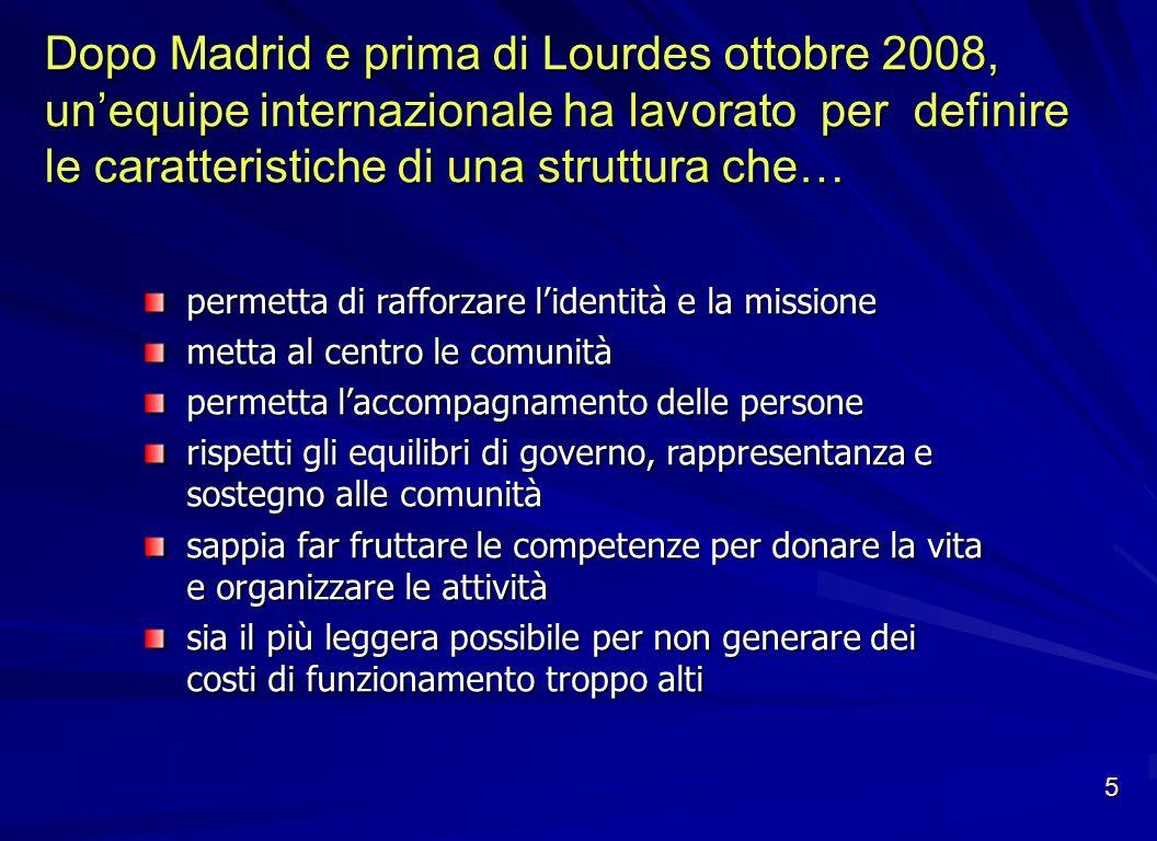 Dopo Madrid e prima di Lourdes ottobre 2008, unequipe internazionale ha lavorato per definire le caratteristiche di una struttura che… permetta di raf