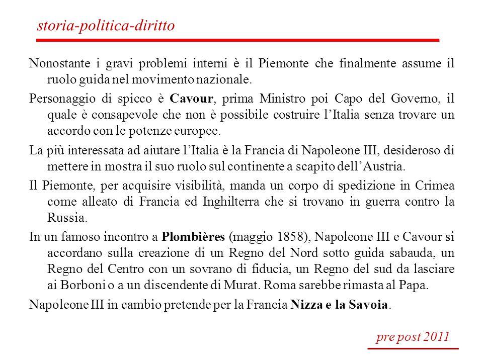 Nonostante i gravi problemi interni è il Piemonte che finalmente assume il ruolo guida nel movimento nazionale. Personaggio di spicco è Cavour, prima