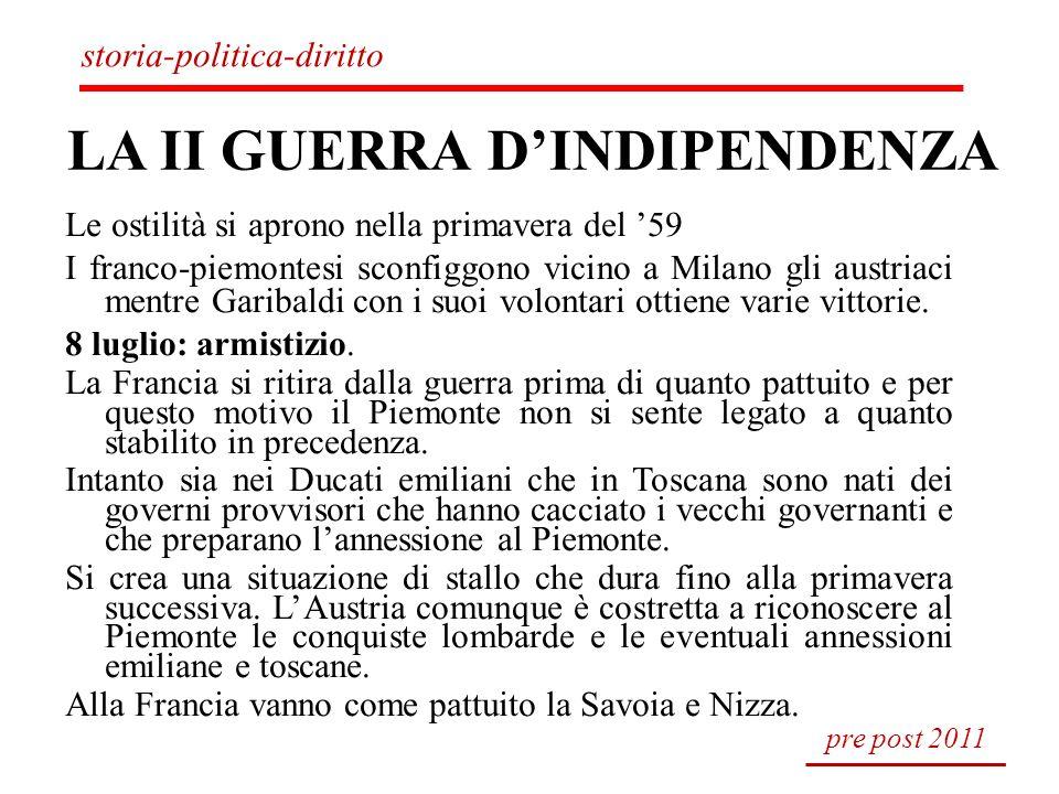 LA II GUERRA DINDIPENDENZA Le ostilità si aprono nella primavera del 59 I franco-piemontesi sconfiggono vicino a Milano gli austriaci mentre Garibaldi
