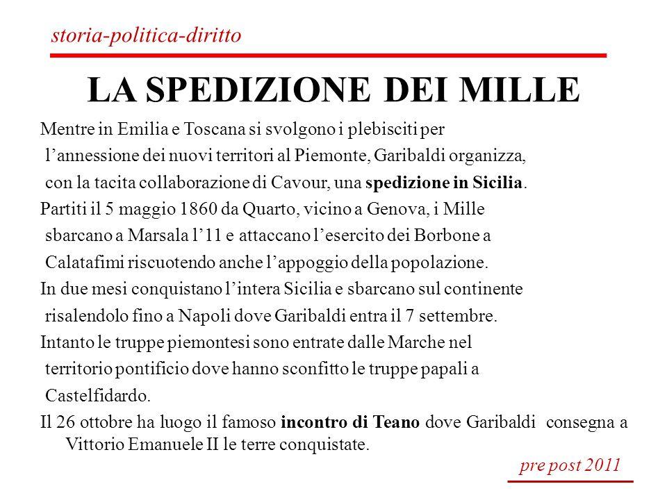 LA SPEDIZIONE DEI MILLE Mentre in Emilia e Toscana si svolgono i plebisciti per lannessione dei nuovi territori al Piemonte, Garibaldi organizza, con
