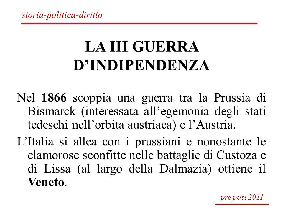 LA III GUERRA DINDIPENDENZA Nel 1866 scoppia una guerra tra la Prussia di Bismarck (interessata allegemonia degli stati tedeschi nellorbita austriaca)
